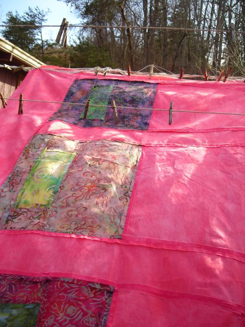 Modern Quilt Top on clothesline