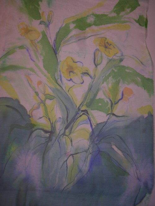 Day Lillies on silk chiffon