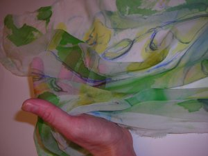 Day Lillies painting on chiffon level of transparency